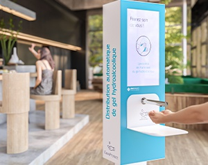 Antibacterial hand gel dispenser-kiosk
