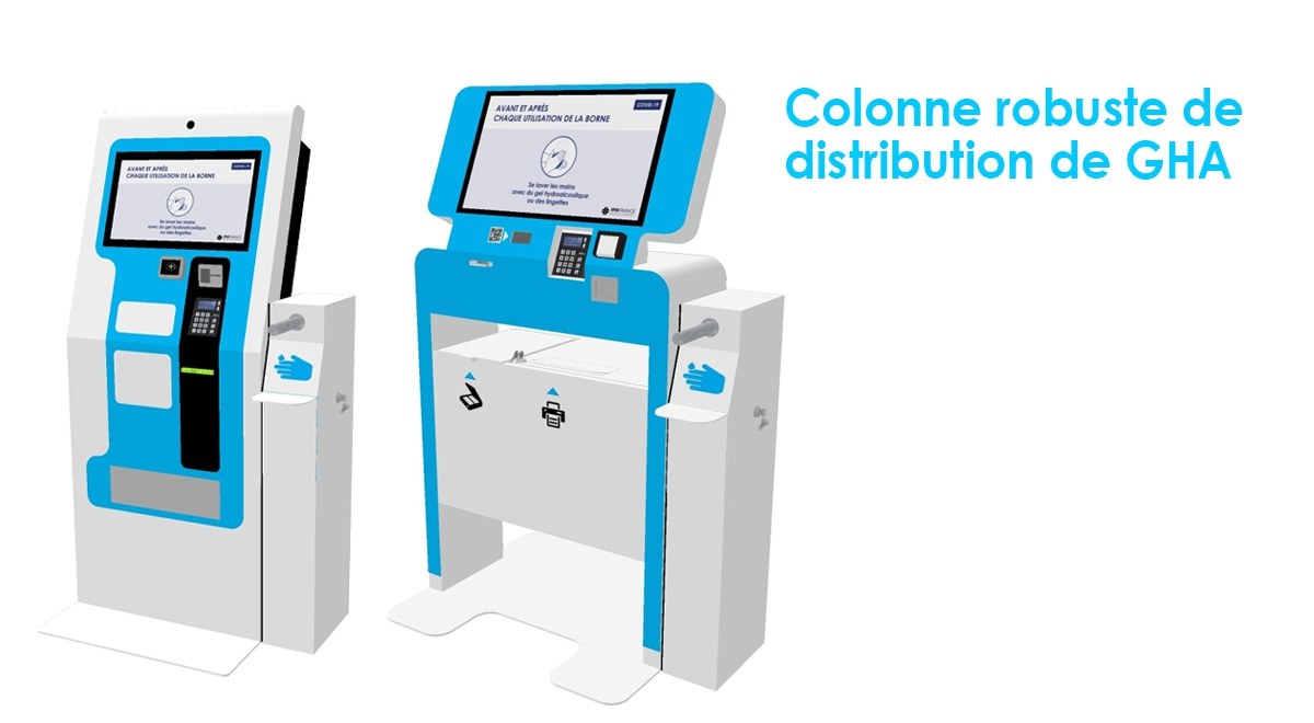 Colonne-distribution-gel hydroalcoolique-GHA-bornes