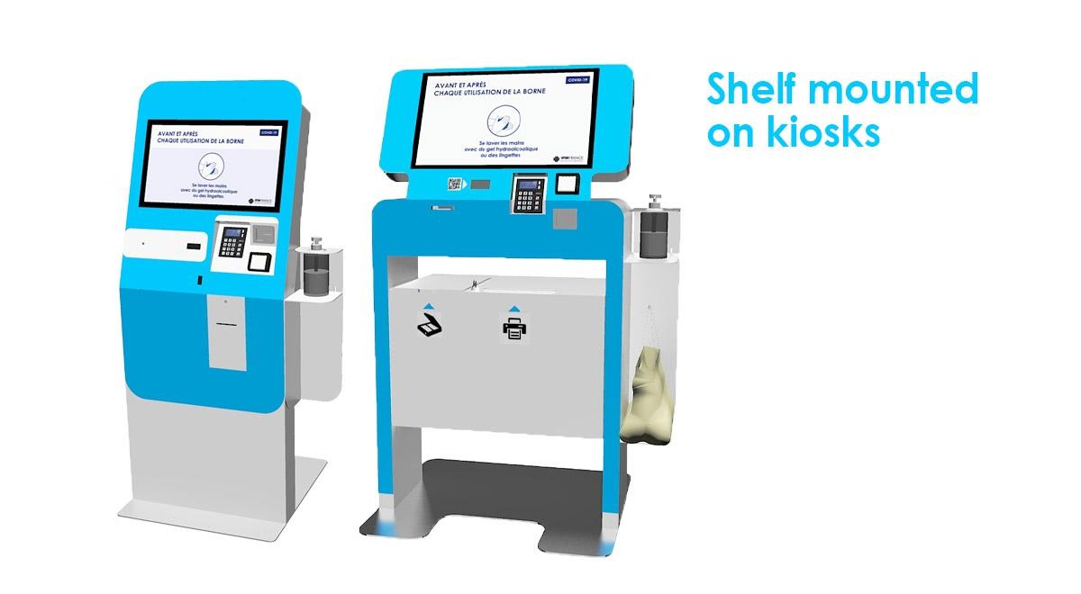 Dispenser antibacterial hand gel-Shelf mounted on kiosks