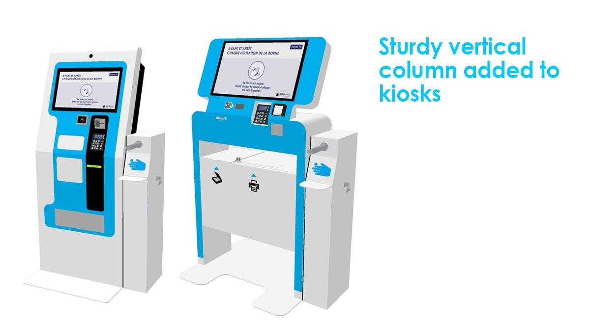 Dispenser antibacterial hand gel-Sturdy vertical column added to kiosks