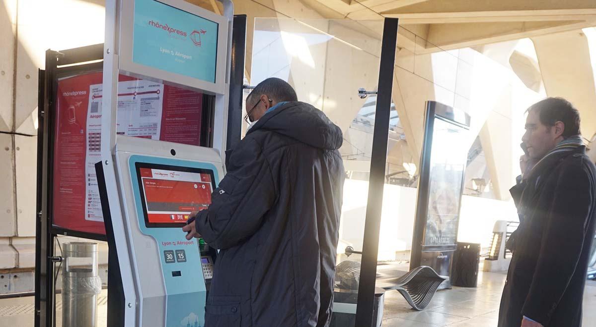 Interactive ticket vending kiosk Rhonexpress-IPM France