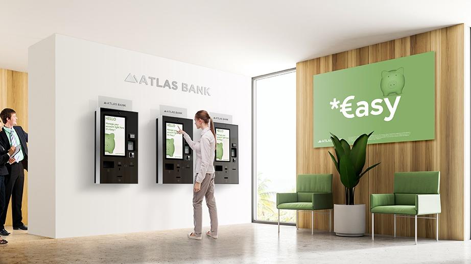 borne tactile banque