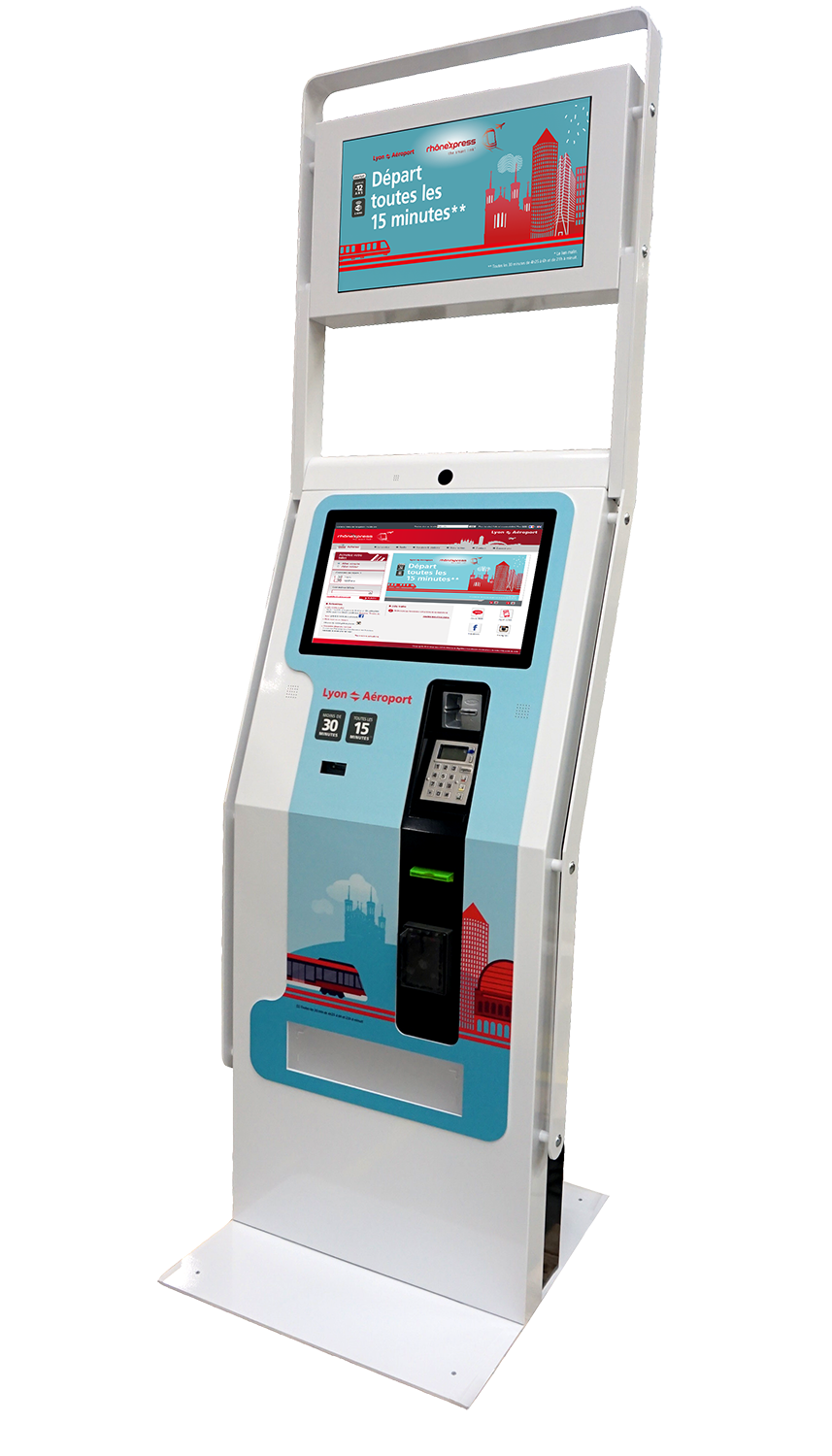 borne ticket vending machin - distribution ticket - paiement securise - rhonexpress